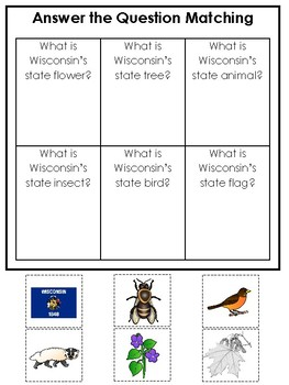 Wisconsin State Symbols themed Answer the Question Preschool Literacy Game.