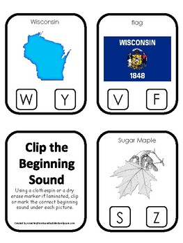 Wisconsin State Symbols themed Beginning Sounds Clip It Preschool Card Game.