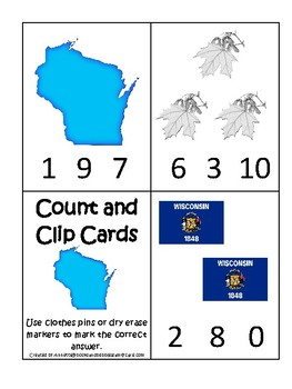 Wisconsin State Symbols themed Count and Clip Preschool Counting Math Card Game.