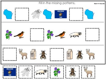 Wisconsin State Symbols themed Fill In the Missing Pattern Preschool Math Game.