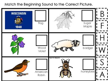 Wisconsin State Symbols themed Match the Beginning Sound Preschool Phonics Game