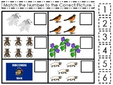 Wisconsin State Symbols themed Match the Number Preschool Math Counting Game.