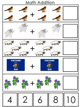 Wisconsin State Symbols themed Math Addition Preshool Learning Math Game.