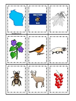 Wisconsin State Symbols themed Memory Match Preschool Educational Card Game