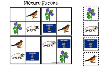Wisconsin State Symbols themed Picture Sudoku Preschool Learning Math Game.