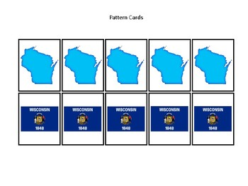 Wisconsin State Symbols themed Preschool Pattern Cards and Game Board.