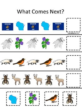 Wisconsin State Symbols themed What Comes Next Preschool Math Pattern Game.