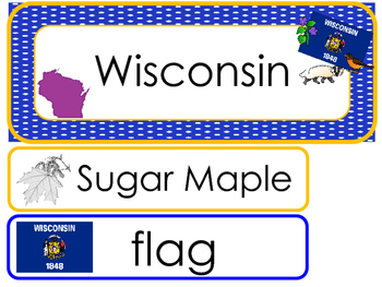 Wisconsin State Word Wall Bulletin Board Set. Geography Curriculum.