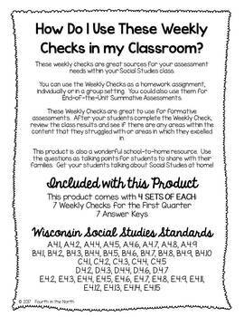 Wisconsin Studies Weekly Entire Year Weekly Comprehension Checks