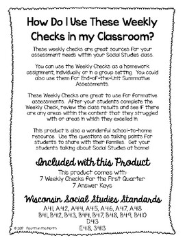 Wisconsin Studies Weekly First Quarter Weekly Comprehension Checks