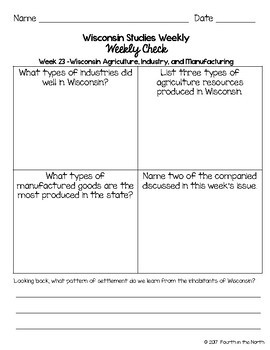 Wisconsin Studies Weekly Fourth Quarter Weekly Comprehension Checks