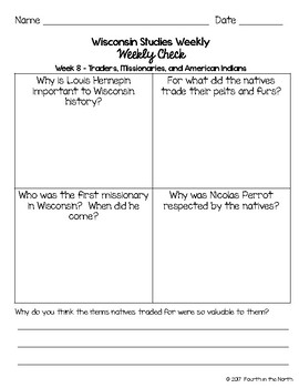 Wisconsin Studies Weekly Second Quarter Weekly Comprehension Checks