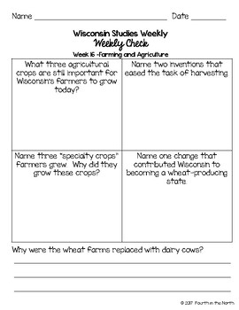 Wisconsin Studies Weekly Third Quarter Weekly Comprehension Checks
