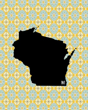 Wisconsin Vintage State Map or Poster Class Decor, Classroom Decoration