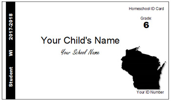 Wisconsin (WI) Homeschool ID Cards for Teachers and Students