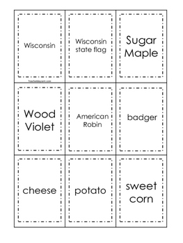 Wisconsin themed Memory Matching and Word Matching preschool curriculum game