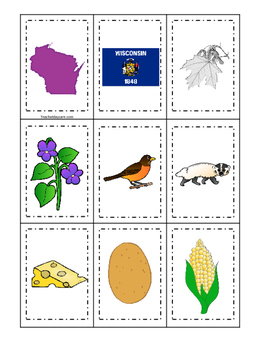 Wisconsin themed Memory Matching and Word Matching prescho