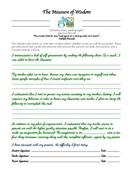 Wisdom Practice Card (behavior management in public school