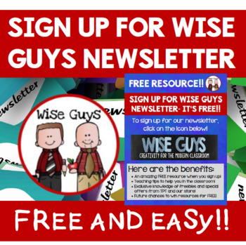 Wise Guys Newsletter: Free TPT Resources, Ideas, and More