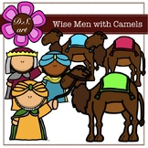 Wise Men with Camels Digital Clipart (color and black&white)