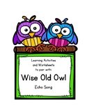 Wise Old Owl Echo Song Activity Packet for Homeschoolers