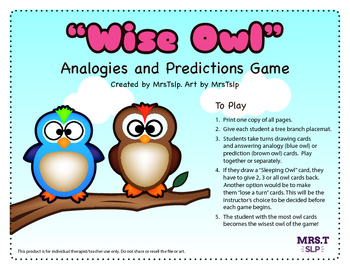 """Wise Owl"" Analogies and Predictions Game: Speech Therapy"