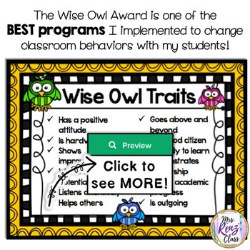 Wise Owl Award Student of the Month Student Recognition Program