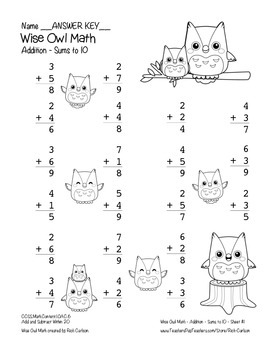 """Wise Owl Math"" Add Within 10 - Common Core - Addition Fun! (black line version)"