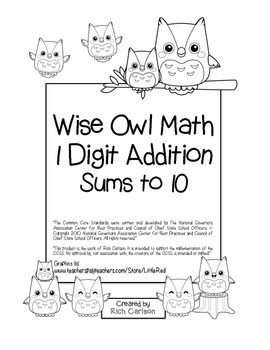 """Wise Owl Math"" Add Within 10 - Common Core - Addition Fun"