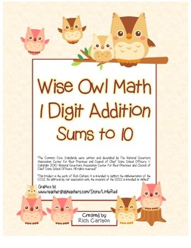 """""""Wise Owl Math"""" Add Within 10 - Common Core - Addition Fun"""