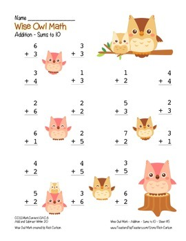 """Wise Owl Math"" Add Within 10 - Common Core - Addition Fun! (color version)"