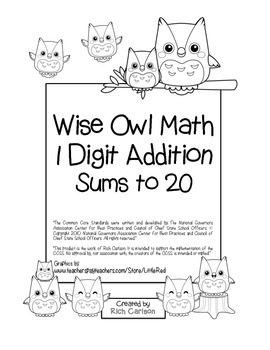 """Wise Owl Math"" Add Within 20 - Common Core - Addition Fun! (black line version)"