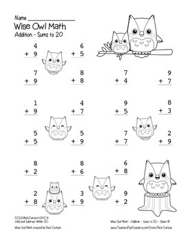 """Wise Owl Math"" Add Within 20 - Common Core - Addition Fun! (color & black line)"