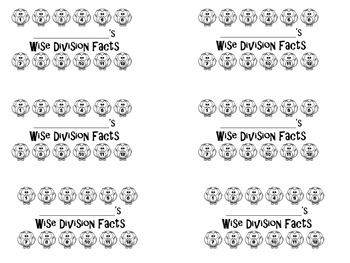 Wise Owl Math Facts Punch Cards