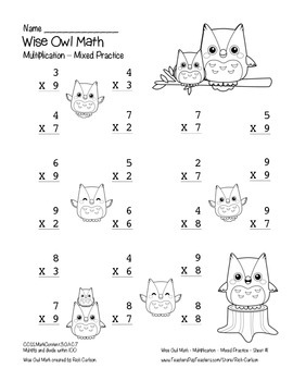 """""""Wise Owl Math"""" Multiplication to 9x9 - Common Core - Fun! (black line)"""