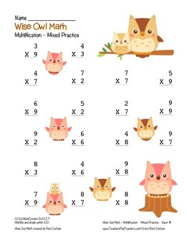 """Wise Owl Math"" Multiplication to 9x9 - Common Core - Fun! (color)"