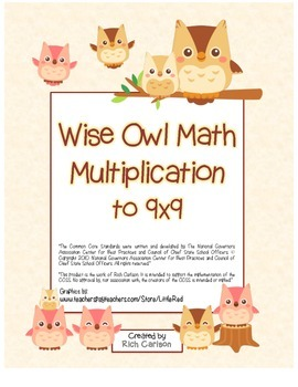 """""""Wise Owl Math"""" Multiplication to 9x9 - Common Core - Fun!"""