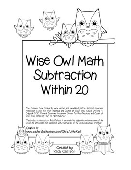 """""""Wise Owl Math"""" Subtract Within 20 - Common Core - Fun! (color &blackline)"""