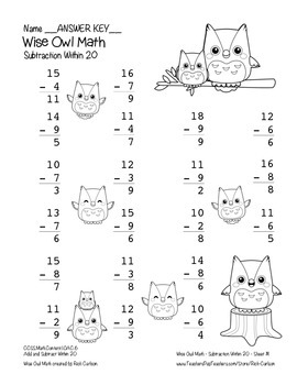 """Wise Owl Math"" Subtract Within 20 - Common Core - Subtraction Fun! (black line)"