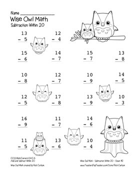 """""""Wise Owl Math"""" Subtract Within 20 - Common Core - Subtraction Fun! (black line)"""
