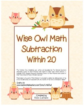 """Wise Owl Math"" Subtract Within 20 - Common Core - Subtraction Fun! (color)"