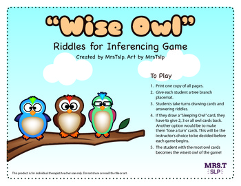 """""""Wise Owl"""" Riddles for Inferencing Game: Speech Therapy"""