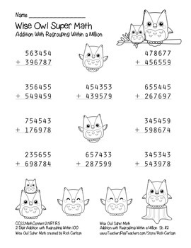 """""""Wise Owl Super Math"""" Addition With Regrouping - Common Core! (black line )"""
