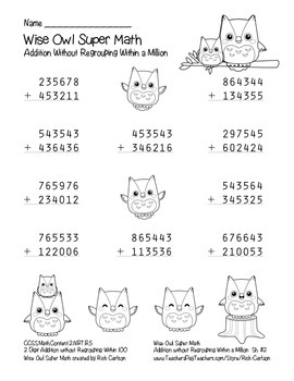 """""""Wise Owl Super Math"""" Addition Without Regrouping - Common Core! (black line )"""