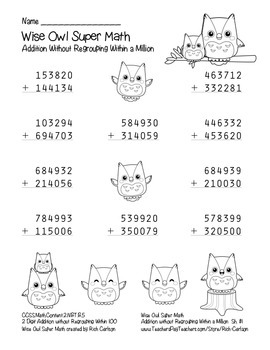 """Wise Owl Super Math"" Addition Without Regrouping Common Core (color &blackline)"