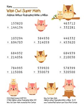 """""""Wise Owl Super Math"""" Addition Without Regrouping - Common Core! (color version)"""