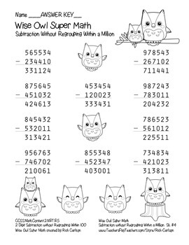 """""""Wise Owl Super Math"""" Subtraction Without Regrouping - Common Core! (black line)"""