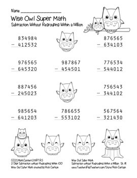 """Wise Owl Super Math"" Subtraction Without Regrouping - Common Core! (black line)"