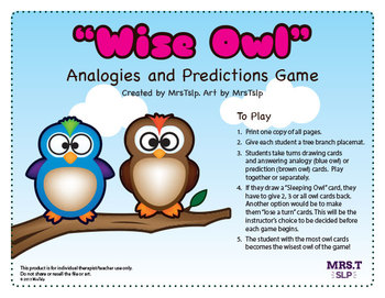 Wise Owls for Inferencing, Analogies, Riddles and Predictions Game (Bundle)