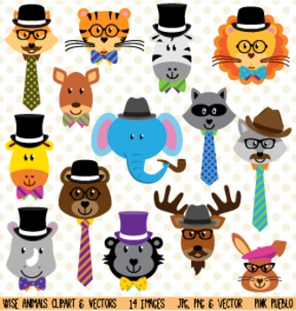Wise School Zoo, Jungle and Woodland Animal Faces Clipart Clip Art